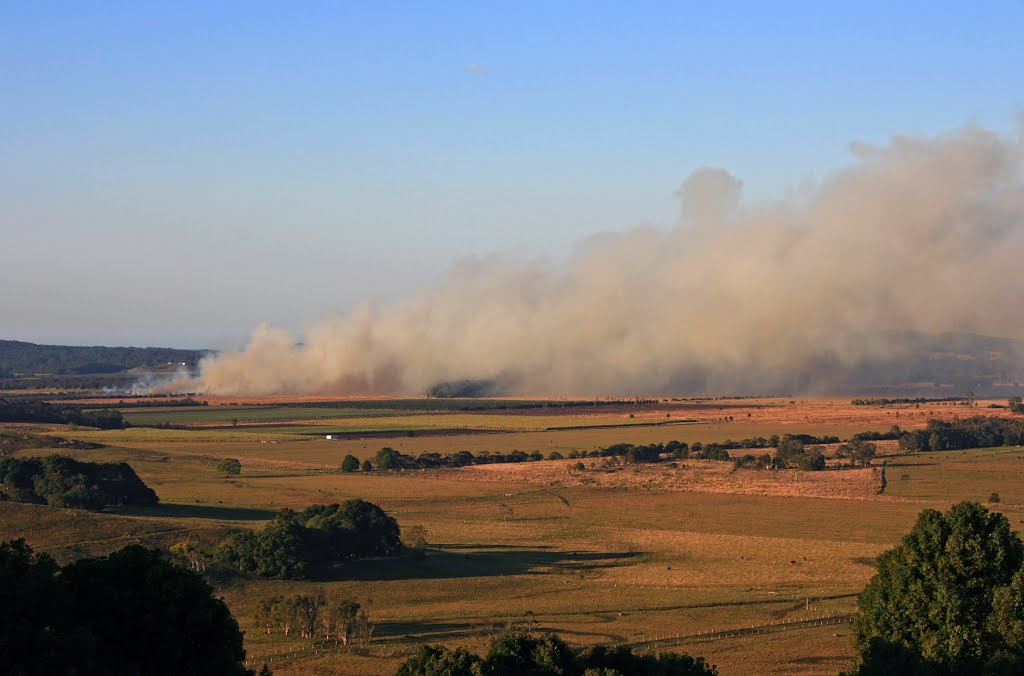 Cane Stubble fire from Knockrow