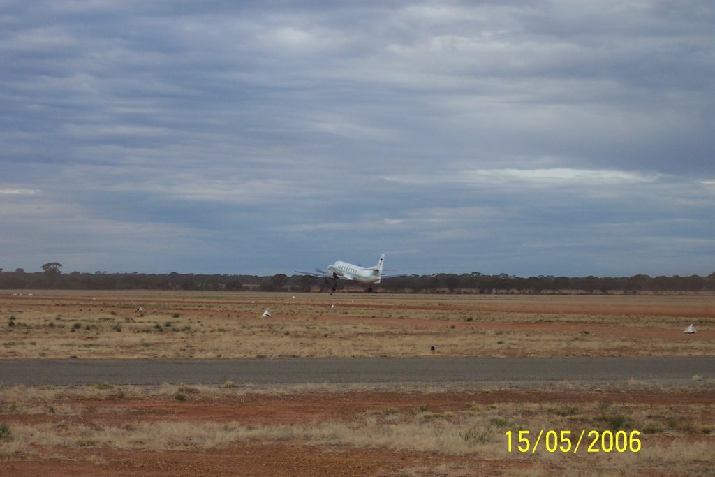 Plane take off at Airstrip, Southern Cross, Western Australia